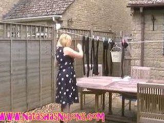 bitch mother i wife in hose teasing the neighbours