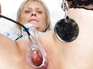 blond granny nurse self exam with pussy spreader
