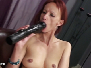 three mature lesbian babes party on the couch