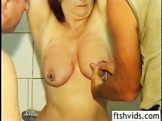 aged redhead cleaned spanked and fucked from