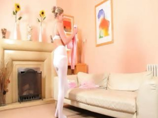 hawt mom in white hose strip
