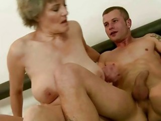 granny enjoys wonderful fucking with young man