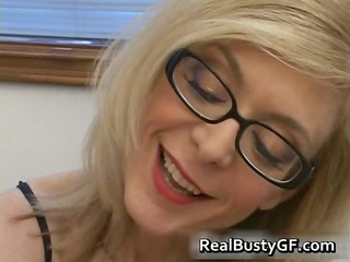 Blonde in glasses licking stiff