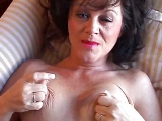 smoking sexy older brunette