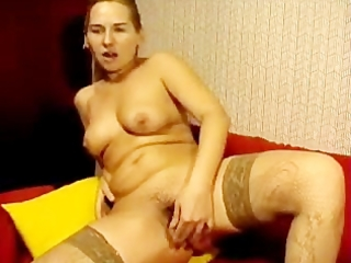 russian mama bonks her unshaved twat with toy on
