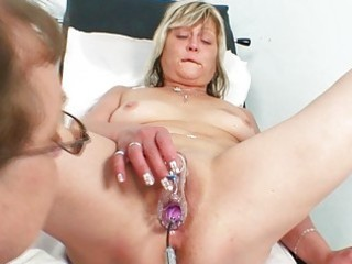 slutty blond granny toys her bawdy cleft at gyno