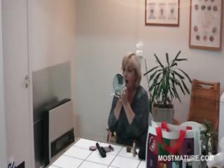 office lady teasing her aged pointer sisters with