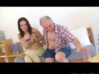 Small Tittted Babe Gets Drilled By Grandpa Part1