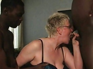 dark guys blowjob from aged white housewife