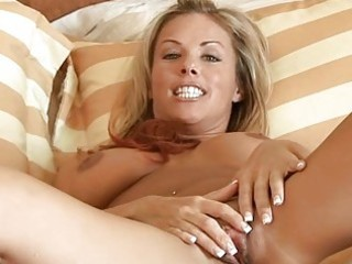 blond mother i massages her biggest breast with a