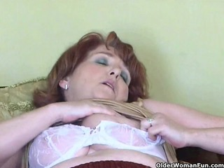 naughty granny has solo sex with sex-toy