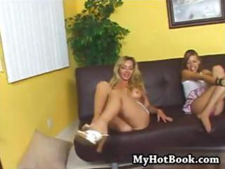 breasty golden-haired mamma and daughter take