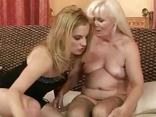 unsightly granny enjoying lesbo sex with sexy