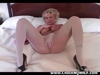 blonde milf in pantyhose rubbing cum-hole