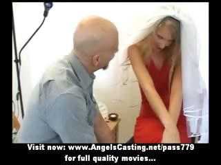 Adorable lovely blonde wife talking in the living