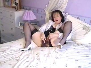granny dildoing in crotchless panties and talking