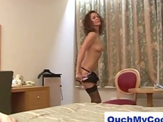 lustful aged lady gives cheeky guy a harsh cook