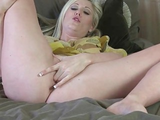 lusty blond older lady pokes her hungry orgasmic