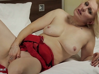 non-professional aged mother jerk off on her bed