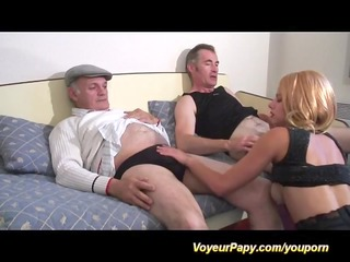 french trio with voyeur papy