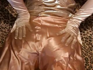 breasty milf wearing gloves masturbates in nylons