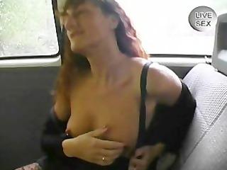 old woman gives an handjob while masturbating in
