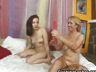 aged on teen lesbo duet fake penis fucking