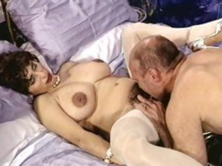 breasty brunette aged with bushy pussy trades