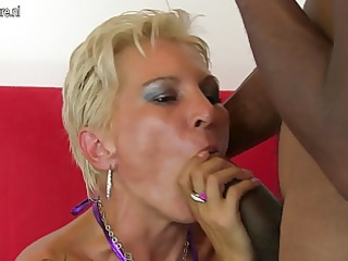 hot white mommy in an interracial orgy