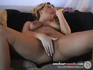 geeky blond wife self pleasures breasty vagina