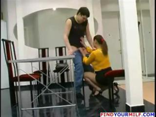 Mature russian mom catches boy jerking off and