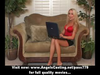 blonde mother i with laptop toying pussy and