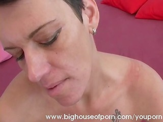 mature lady gets a large facial