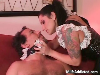 dark brown latina doll gives oral stimulation