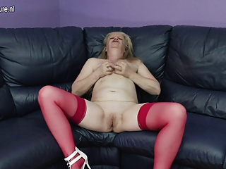 dirty old grandma masturbating on the daybed