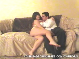 Wife Gets Creampie on Couch