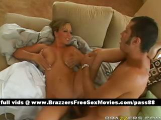 aged breasty blonde wife on the bed receives her