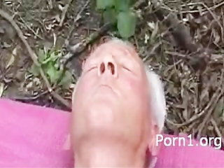 older man plays with love tunnel