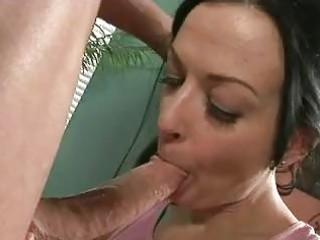brunette momma acquires her throat full of meaty