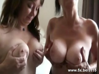 two matures group-fucked by small in number rods