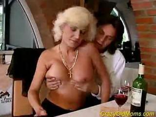 Crazy old mom goes after the younger man and gets