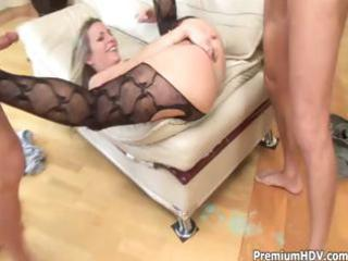 horny blonde milf gets into a three-some with