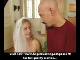 superb sexy amateur golden-haired wife talking