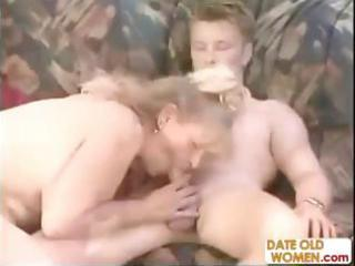 Chubby german mature goes down on his cock and