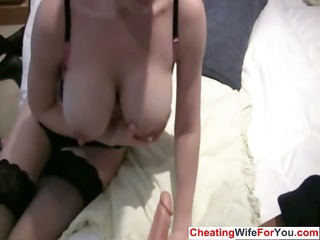 breasty british plays with large dildo