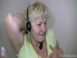 golden-haired granny with large meatballs dances
