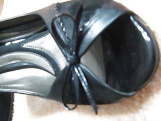 my wifes sexy dark patent leather high heel