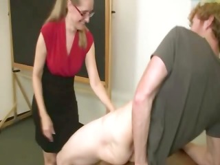 slutty teacher engulfing student cock after school
