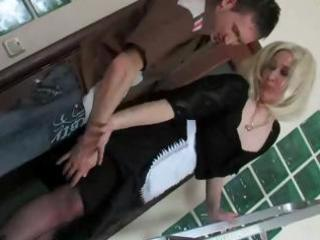 blonde russian aged mama and boy