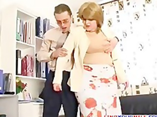 breasty mature in hose jerking boy off
